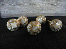 Gold and Iridescent Abalone Shell Knob Drawer Pull ~ Modern Art Deco Geometric