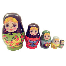 1 Set 5 Layers Nesting Dolls Wood Girl Hand-painted Russian Doll Toy Kids Gifts