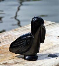 Vtg Spirit Animal Totem Black Obsidian Hand Carved Pelican Figurine Wicca