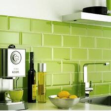 10x10cm Sample of 20x10 Metro Lime Green Gloss Bevelled Edge Tile
