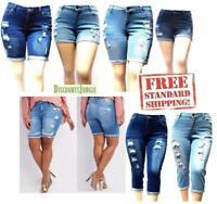 1826 Women's Plus Size Bermuda Short Capri Curvy Denim Jeans Ripped Distressed