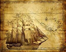 OLD WORLD MAP & SHIP  MOUSE PAD  IMAGE FABRIC TOP RUBBER BACKED