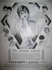 PUBLICITE DE PRESSE DIXOR LA VELOUTY BEAUTé DESSIN J.-J. LECLERC FRENCH AD 1928
