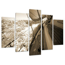 Set of Five Piece Sepia Brown Canvas Wall Art Pictures Bedroom 5106