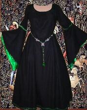 Sca Garb Costume Renaissance Fantasy Medieval 1pc Gown BlkKellyCottonSatinLxl