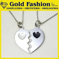 Collana in argento 925 - doppia catena - cuore x 2 - 01
