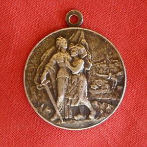 médaille patriotique 1870 1914 LA VICTOIRE , métal argenté   27mm , alsacienne