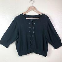 Torrid 3 Women's Plus 22 Black Soft Button Front Knit 3/4 Slv Cardigan Sweater
