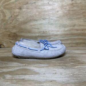 UGG Dakota I Do! Slippers Womens Size 5 Moccasins Suede Sheepskin Gray Blue