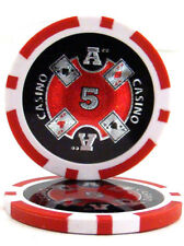 100 Red $5 Ace Casino 14g Clay Poker Chips New - Buy 3, Get 1 Free