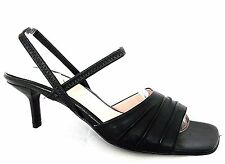 GORDON SCOTT BLACK LEATHER STRAPPY CASUAL SANDALS HEELS WOMENS UK 8 - EU 41