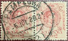 Bloque de 2 Sellos Alfonso XIII 1902  10c. Edifil 269  Matasellos Pamplona