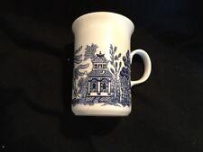 3 Asian Tea Cups Coffee Mug Blue and White Made In England Ceramic
