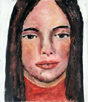 Original OOAK Oil Woman Portrait Painting Many Moons Ago Katie Jeanne Wood