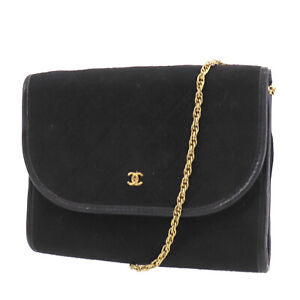 CHANEL CC Quilted Chain Shoulder Bag Black Cotton France Vintage Auth #AD634 O