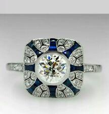 Estate 1930'S Art Deco 1.0 CT Diamond & Blue Sapphire Ring 14K White Gold Over