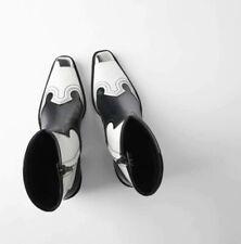 Zara Black & White Cowboy Ankle Boots Size 5
