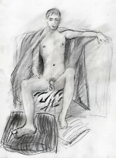 Drawing NUDE male ORION'S THRONE 1/8/50 Pencil Graphite Realism FREE SHIP