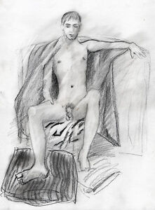 ORION'S THRONE drawing  1/8/50 Pencil Graphite Realism nude male FREE SHIP