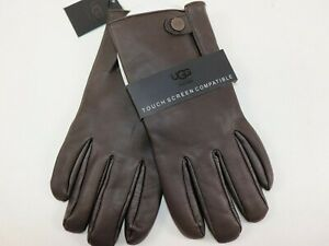 NWT $95 UGG Size L Men's Dark Brown 100% Leather SNAP TAB Touch Screen Glove