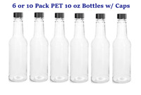 6 OR 10 PACK 10 OUNCE OZ CLEAR PLASTIC PET SAUCE BOTTLES W/ LINED CAPS