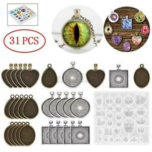 31Pcs Resin Casting Molds Silicone DIY Mold Jewelry Pendant Mould Making