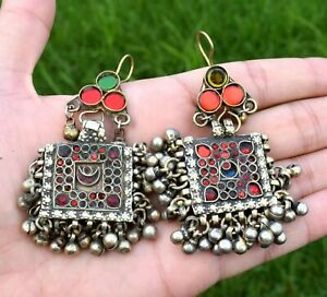 Big Heavy Vintage Afghan Kuchi Square Earrings Tribal Pendant Ethnic Dance Boho