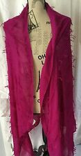 "NEW Neiman Marcus SCARF Large Size 68"" X 36"" Fringed Hot Pink Darl Fuchsia Color"