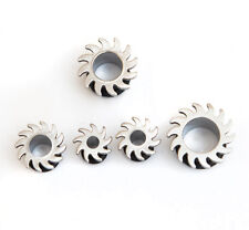 5 x Surgical steel ear tunnel plug spiky blade with rubber O ring different