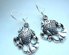 Fish Dangle Earrings 925 Sterling Silver Corona Sun Jewelry sea food ocean