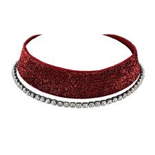 SET Gothic Collier glitzer Choker ROT + Strass Kette Kropfband Halskette NEU