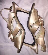 ANNIE Gold Heel Shoes Open Toe Slingback Size 10M