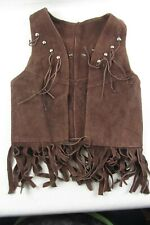 vtg Kids Size 5-6 Brown Leather Cowboy VEST Sleeveless Tassels Fringed