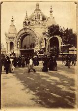LARGE PHOTOGRAPH,mining pavillon at World Exhibit fair -1900 in Paris. People