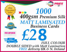 1000 MATT LAMINATED Business Cards - 400gsm Premium Silk Artboard - DOUBLE SIDED