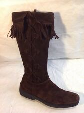 Principles Dark Brown Mid Calf Suede Boots Size 5