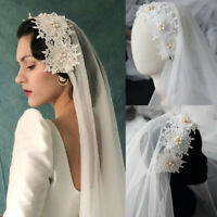 Vintage Wedding Veils Lace Short Pearls Bridal Veils White Ivory Elbow Princess