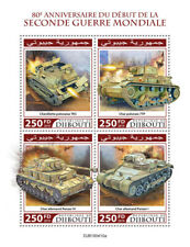 Djibouti Military & War Stamps 2019 MNH WWII WW2 Beginning Tanks 4v M/S