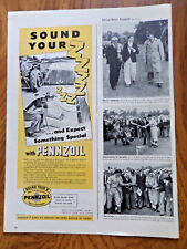 1945 Pennzoil Oil Ad  Golfing Theme