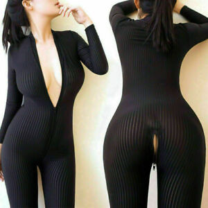Women Sexy Clubwear Long Sleeve Leopard Bodysuit Zipper Jumpsuit Striped Catsuit