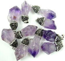 Raw Natural Amethyst Gem Healing Reiki Chakra Beads Point Pendant Charm Beads