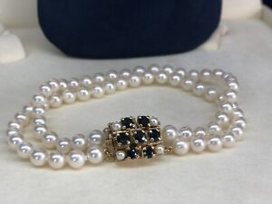 "Tiffany Signature Akoya Pearls Double Strand  8"" Bracelet w14K YG Sapphire Clasp"