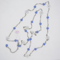 "41"" lia sophia jewelry long necklace silver tone chain blue white enamel flowers"