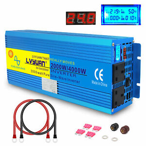 LCD DISPLAY 2000W 4000W Peak Pure Sine Wave power inverter DC 24V TO AC 240V NEW