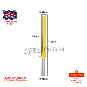 Extra Long 76mm (3 inch) Straight Router Bit, With Two Flute 1/4 Shank.