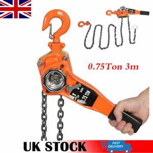 750kg 3M Ratchet Chain Lever Lift Crank Chain Hoist Block Puller Lifting Device