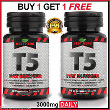 T5 FAT BURNER STRONGEST LEGAL SLIMMING PILLS DIET WEIGHT LOSS CAPSULES 100% PURE