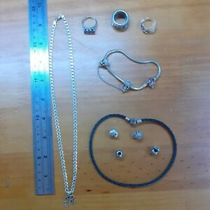 """925 SILVER JEWELLERY LOT - RINGS. 19"""" CURB CHAIN. PANDORA  BRACELET & CHARMS."""