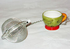 NEW TEA BALL INFUSER ON CHAIN WITH PORCELAIN TEACUP STYLE BOWL NICHE