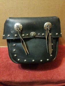 Vintage All Leather Motorcycle Saddlebag Black with Conchos and Decorative Studs